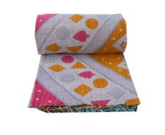 Newborn Baby Girls Butterfly Hand Print Kantha Quilt Blanket Throw Beach Rug Bed