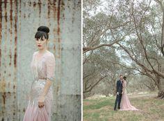 Blush Pink + Sequin Wedding Dress 3/4 Sleeves / Photographer Jonas Peterson