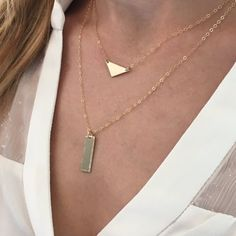Modern Triangle and Hammered Edge Tag necklaces in 14k gold filled.