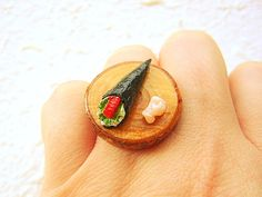 Sushi Ring  Miniature Food Jewelry Traditonal by SouZouCreations, $15.00 #etsy #jewelry #jewellery #shopping #etsy #handmade #food #gift #present #accessory #accessories #harajuku #tokyo #fashion #summer #woman #girl
