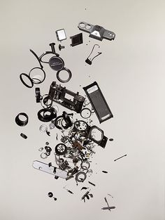 Pentax Spotmatic F SLR Completely Disassembled and Laid Out