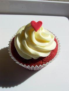 Red Velvet Cupcake with Mini Heart