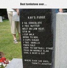 This tombstone takes the... cake. so.... over her dead body?