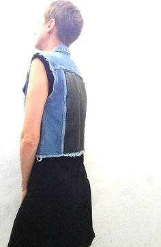 UPCYCLED Cropped Denim Vest. Recycled Black Leather. Grunge Blue Jean. Fall Jacket.