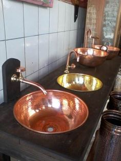 Bojo E Torneira De Cobre O Valor É De Cada Peça - R$ 225,00 - Copper Sink and Faucets