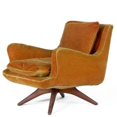 Vladimir Kagan, Walnut Base Lounge Chair, 1950s.
