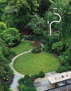 Die Anordnung der beiden kreisrunden Flächen und der dadurch entstehende, geschwungene Weg unterteilen den schmalen Garten, machen ihn größer und interessanter. Tolle Gliederung, klare Formen aber ohne die nüchterne Strenge eines formalen Design-Gartens. Ich würde mir nur deutlich mehr Blütengehölze und Stauden für die Randbepflanzung wünschen.