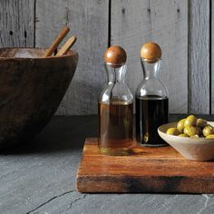West Elm - Glass Bottles With Wood Stoppers - Oil + Vinegar