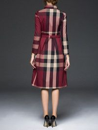 Plaid Belted Midi Dress
