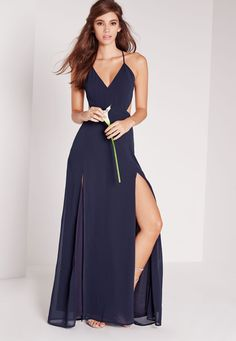 Missguided - Strappy Cut Out Maxi Dress Navy