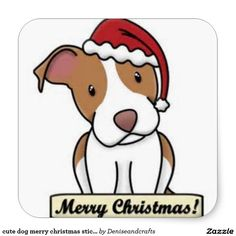 cute dog merry christmas stickers