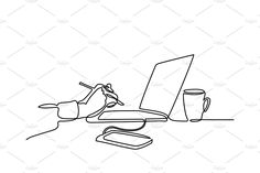 continuous line drawing of laptop computer coffee Outline Drawings, Cute Drawings, Laptop Drawing, Coffee Cup Tattoo, Line Illustration, Illustrations, Simple Line Drawings, Continuous Line Drawing, Art Diary