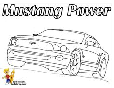 Snowman Mustang Coloring Picture Of Fast Car On The Road