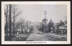 Postcard-SOMERSET-Pennsylvania-PA-East-Main-St-Family-House-Homes-view-1940s