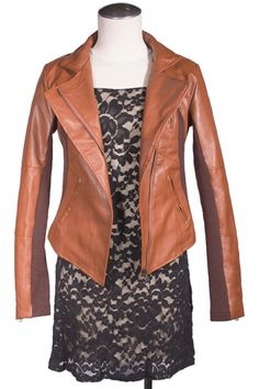 Leather Biker Jacket in Brown | Buy Women's Leather Jackets at Ego Closet | Canadian Online Boutique - Gastown, Vancouver