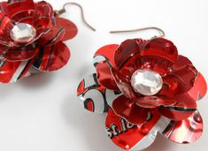 Simple Rose Earrings.  Recycled Soda Can Art.  DOUBLE-sided Earrings. Dr Pepper
