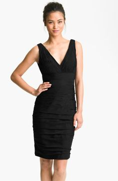 ML Monique Lhuillier Bridesmaids V-Neck Ruched Chiffon Sheath Dress (Nordstrom Exclusive) available at #Nordstrom