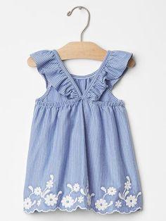 Embroidered flutter dress Product Image