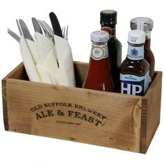 Rustic Condiment Box with Condiments