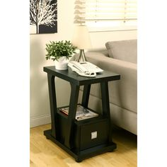 @Overstock.com   Naudine 1 Drawer Black End Table   Add Functional Style