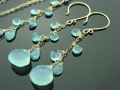 Genuine Sky Blue Chalcedony and Apatite Drops All components are 14 K Gold Filled  Earrings are 60 mm long.  Necklace is 18 long (please let me know