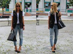 Bershka Vest, Louis Vuitton Bag, Topshop Jeans, H T Shirt, Ray Ban Sunglasses, Zara Heels