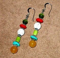 Multi-Color Beaded Earrings Hand Made by CalicoJewels on Etsy