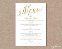 Gold Wedding Menu Card, Printable Wedding Menu // Bella Script DIY ...