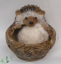 Stoneware Hedgehog Yarn Bowl No. 2 by OrnaArtHeart on Etsy