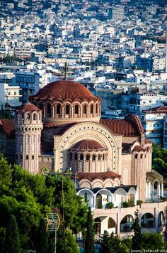 Church of St. Pavlo, Thessaloniki, Greece - The Orthodox Church of St. Pavlo in Thessaloniki, Greece. Places Around The World, Oh The Places You'll Go, Travel Around The World, Places To Travel, Around The Worlds, Byzantine Architecture, Greece Architecture, Myconos, Grande Hotel