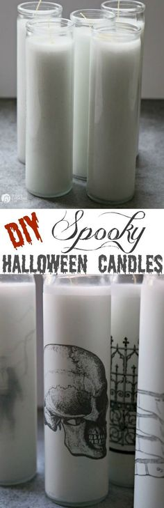 How to Make Spooky Halloween Candles | Make simple Halloween Decor in minutes! Easy Halloween Table Centerpiece from TodaysCreativeLife.com