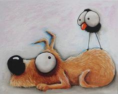 Original acrylic canvas painting whimsical modern art animal sleep dog bird crow #Modernism