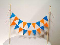 Orange and Blue - Lenny's birthday - Best Cake Recipes 11th Birthday, First Birthday Parties, First Birthdays, Birthday Ideas, Birthday Cake, Cake Bunting, Cake Banner, Blue Cakes, Caking It Up