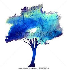 Watercolor style vector illustration of a tree. Vector - stock vector