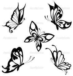 Conjunto pretas borboletas brancas de uma tatuagem — Ilustração de Stock #4669772