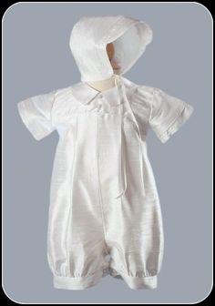 Antique White 100% Silk Dupioni Boys Christening Romper & Hat Set