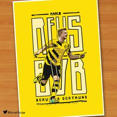 MARCO REUS illustration by Kieran Carroll Design. Marco Reus who was born in Dortmund, Germany also plays his football there too. Reus is a real Borussia Dortmund fans favourite. Considered one of the best attacking footballers in the game, he is known for his versatility, speed and technique.  Prints: www.KieranCarrollDesign.com