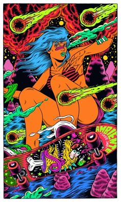 The explosive illustrations by Brazilian collective Bicicleta Sem Freio (image) Psychedelic Art, Arte Pop, Art Patin, Street Art, Tachisme, Acid Art, Posca Art, Skate Art, Hippie Art
