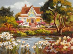 """Daisy's Place"" ~ 6 x 8 - Oil on RayMar panel - Erin Dertner #Victorianhomes #daisies"