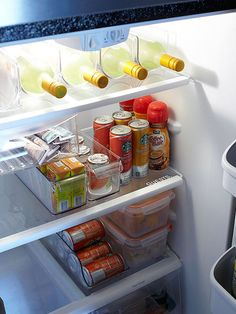 Whip your fridge into shape with these easy DIY organizing ideas, including adjusting shelves, taking advantage of awkward storage space, collecting like items together in fridge bins and storing freezer foods in clear, labeled containers.