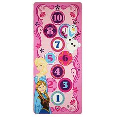 Disney Frozen Hopscotch Toys Rug Anna, Olaf, Elsa Bedding Play Mat Game Rugs w/ 2 Snow Flakes Toy, Disney Frozen Hopscotch game . Two snow flakes for up to two players to be used while playing the game. Run Disney, Disney Frozen, Disney Theme, Disney Girls, Hopscotch Kids, Frozen Bedroom, Elsa Olaf, Bag Toss Game