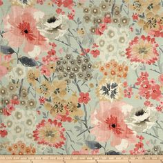 Swavelle/Mill Creek Melliflor Aquarose from . Taupe Bedroom, Taupe Walls, Master Bedroom, Shabby Chic Office, Blue Pillows, Accent Pillows, Green Home Decor, Canvas Fabric, Wall Fabric