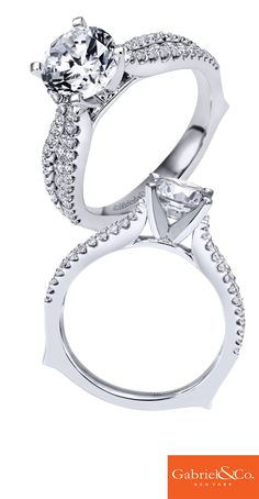 A love that will last a lifetime. A Gabriel & Co. 14k White Gold Diamond Straight Engagement Ring.