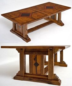 Barnwood Table Timber Frame Design #5 - Shown with Optional Metal & Wood Inlay - Item #DT00118 - Can Be Expandable - Custom Sizes Available