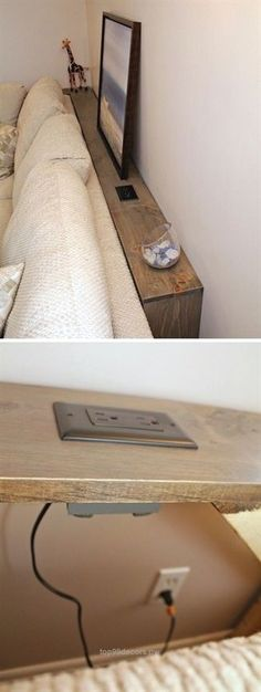 This DIY Sofa Table Behind Built In Outlets Allows You Plug In Your Electronics . This DIY Sofa Table Behind Built In Outlets Allows You Plug In Your Electronics Easily. House, Small Spaces, Home Projects, Home, New Homes, Home Diy, Diy Sofa, Home And Living, Diy Sofa Table
