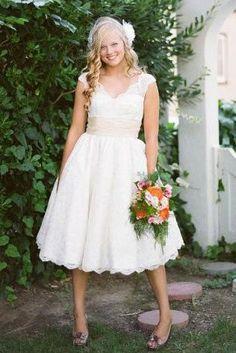 all over lace scalloped v neck short wedding dress