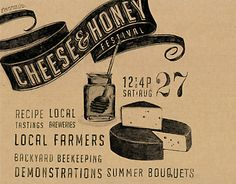 cheese & honey invite for terrain Typography Love, Typography Letters, Graphic Design Typography, Lettering Design, Branding Design, Paper Packaging, Print Packaging, Love Vintage, Cheese Shop