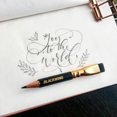 handlettering and calligraphy with gorgeous illustrations. handlettering and calligraphy with gorgeous illustrations. Calligraphy Quotes Doodles, Pencil Calligraphy, Calligraphy Letters, Modern Calligraphy Quotes, Copperplate Calligraphy, Christmas Typography, Christmas Calligraphy Cards, Joy To The World, Christmas Quotes