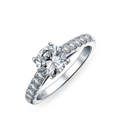 Bling Jewelry Bling Jewelry Sterling Silver Cz Pave Round Cut Solitaire Engagement Ring