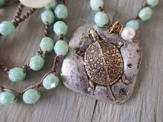 Sea turtle crochet necklace  Dreaming of the Sea  by slashKnots, $70.00
